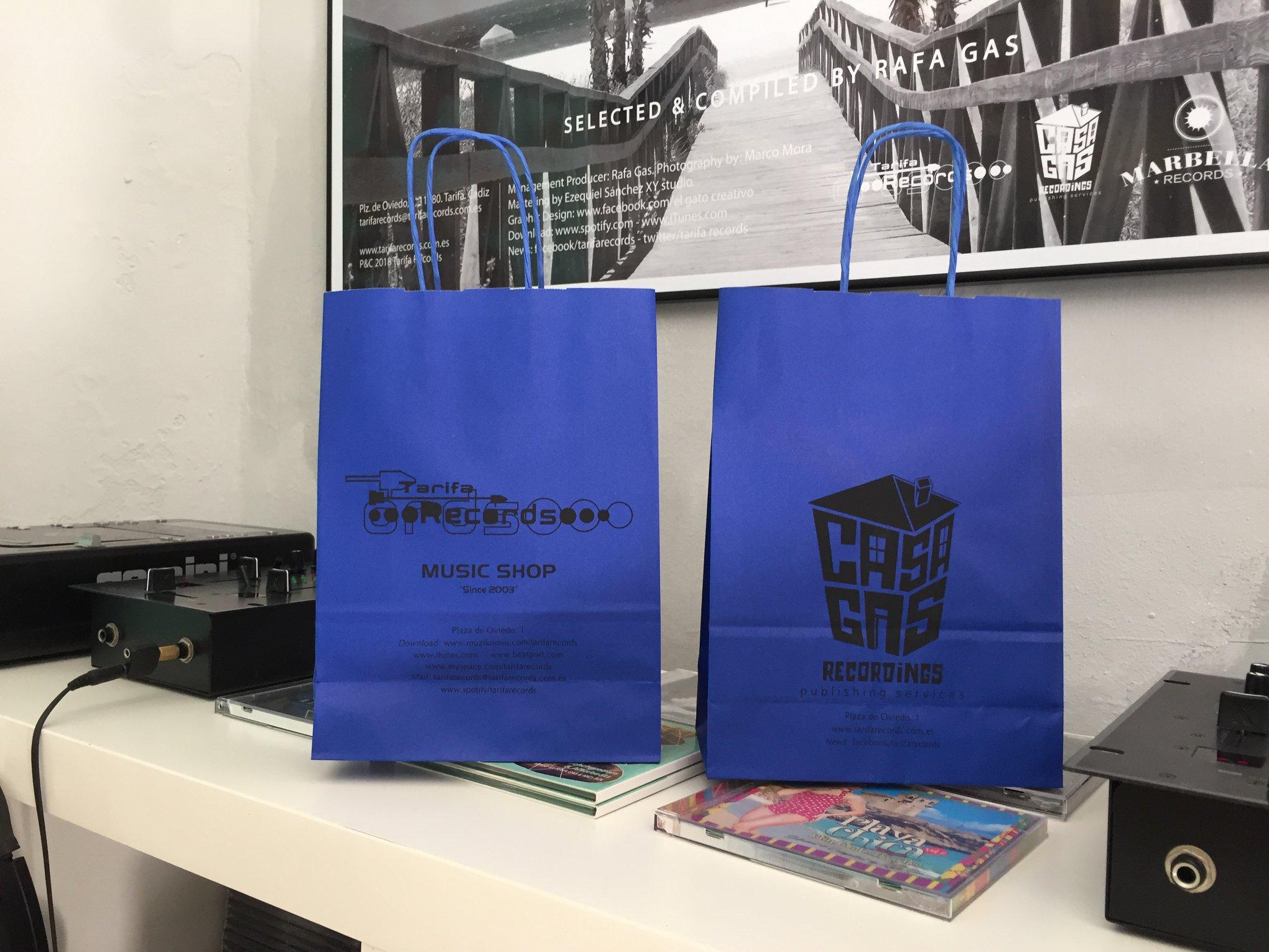 Bolsa de papel con asa trenzada para Tarifa Records